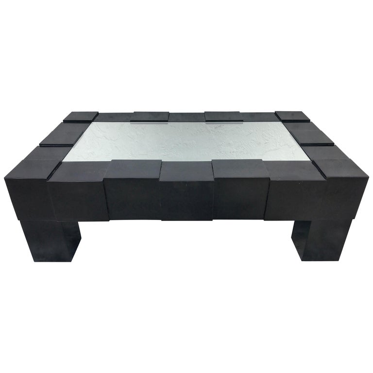 Black Lacquered And Mirrored Coffee Table In The Manner Of Josef Hoffmann
