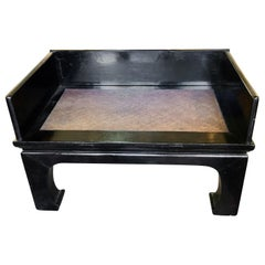 Black Lacquered Asian Bench with Woven Seat