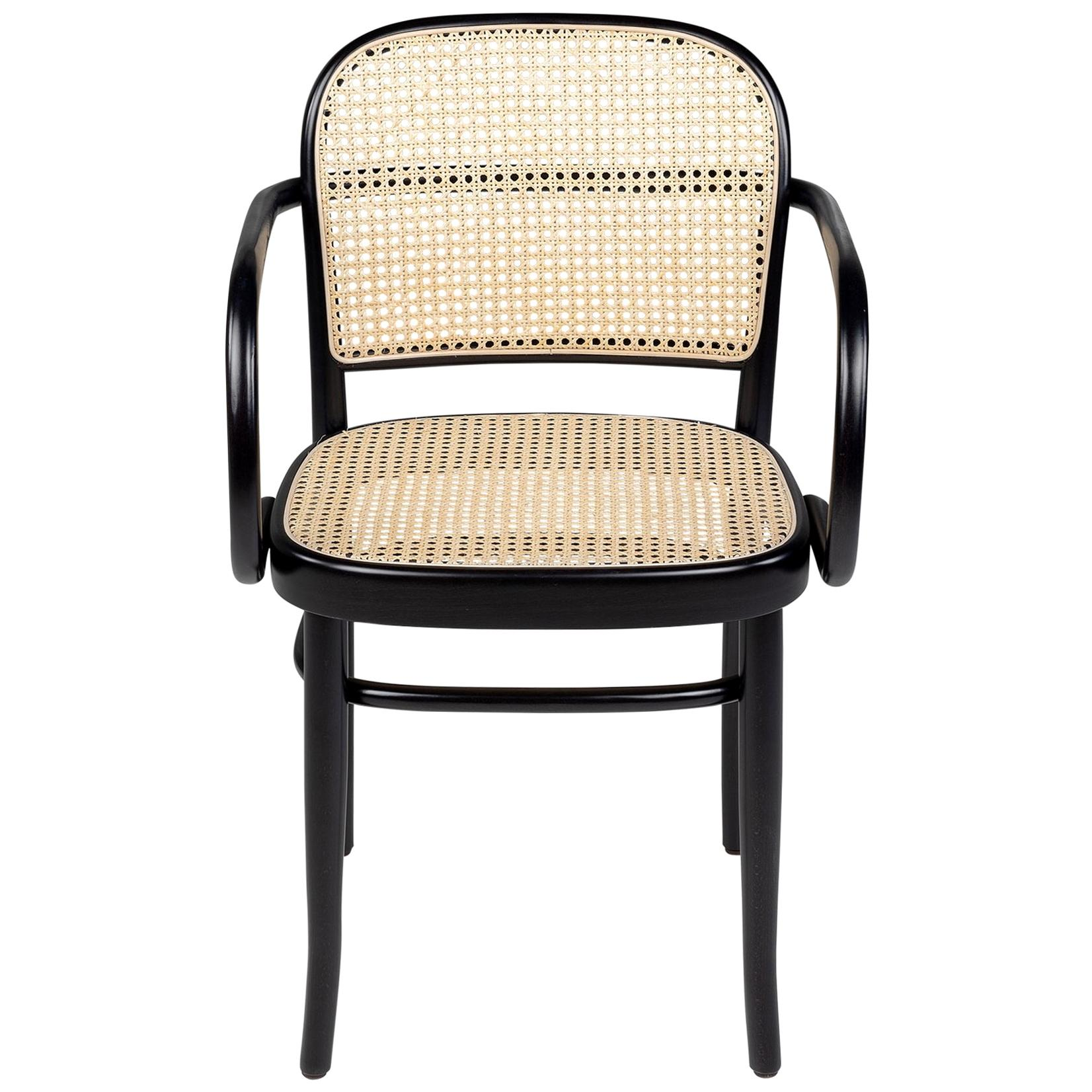 Black Lacquered Beech Wooden and Natural Wicker Cane Armchair