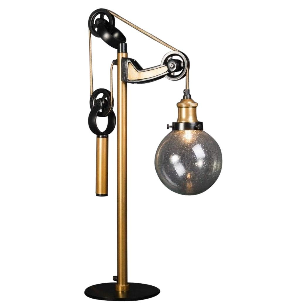 Black Lacquered Brass Metal and Glass Large Table Lamp