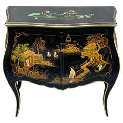 Black Lacquered Cabinet with Hand-Painted Japanese Scenes, 1900s
