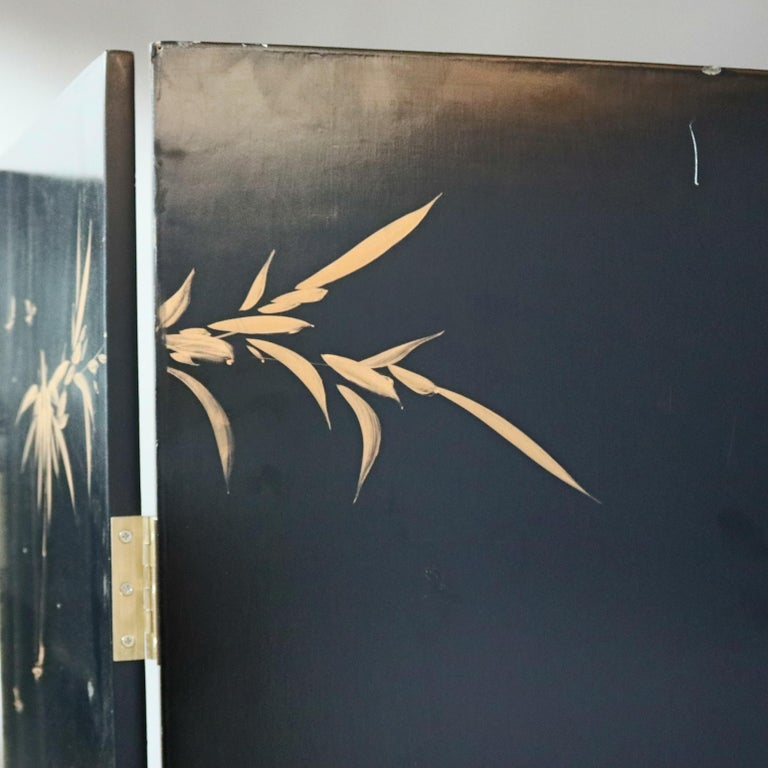 20th Century Black Lacquered Chinese Screen with Roesen School Still Life Painting For Sale