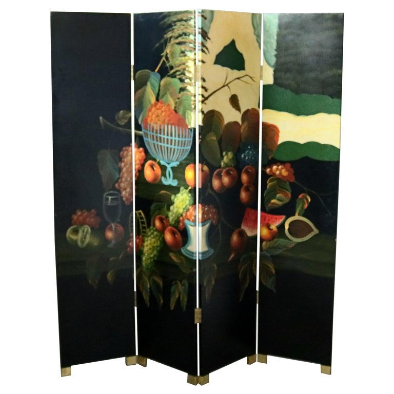 Black Lacquered Chinese Screen with Roesen School Still Life Painting For Sale