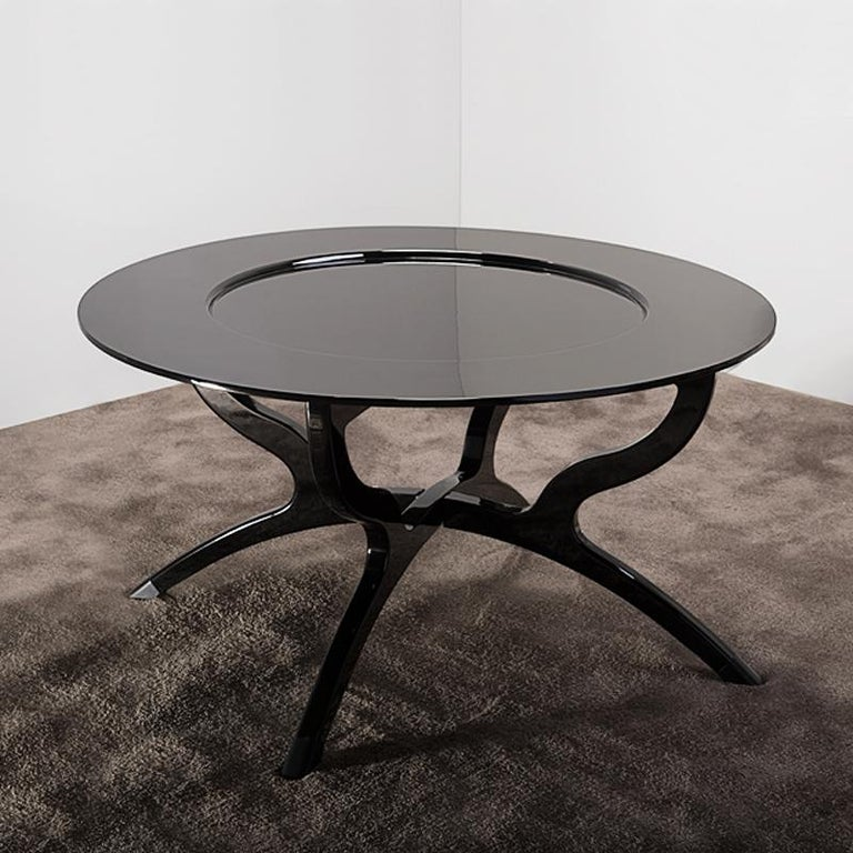 Contemporary Black Lacquered Coffee Table For Sale