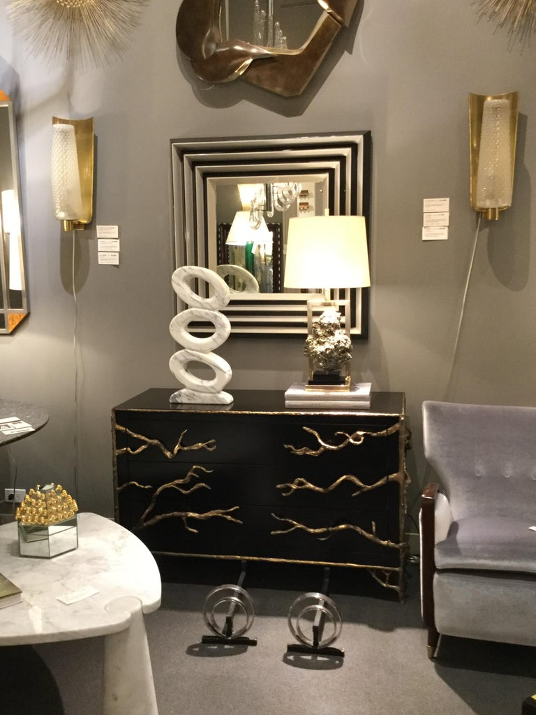 Black Lacquered Commode with Organic Bronze Details, France, 2018 In New Condition For Sale In New York, NY