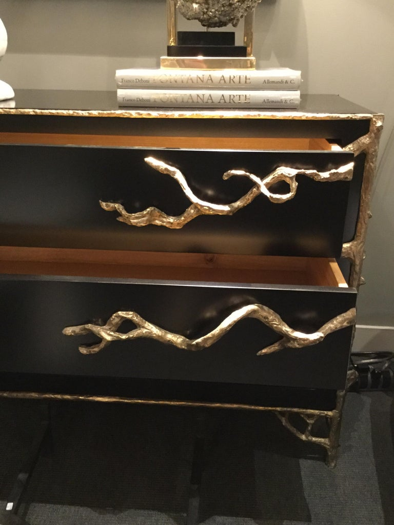 Black Lacquered Commode with Organic Bronze Details, France, 2018 For Sale 1