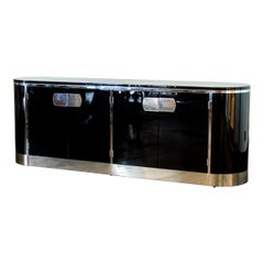 Black Lacquered Curved Cabinet by Mastercraft, 1960s