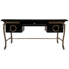 Black Lacquered Desk with Black Glass Top