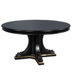 Black Lacquered Empire Inspired Modern Mahogany Round Dining Table