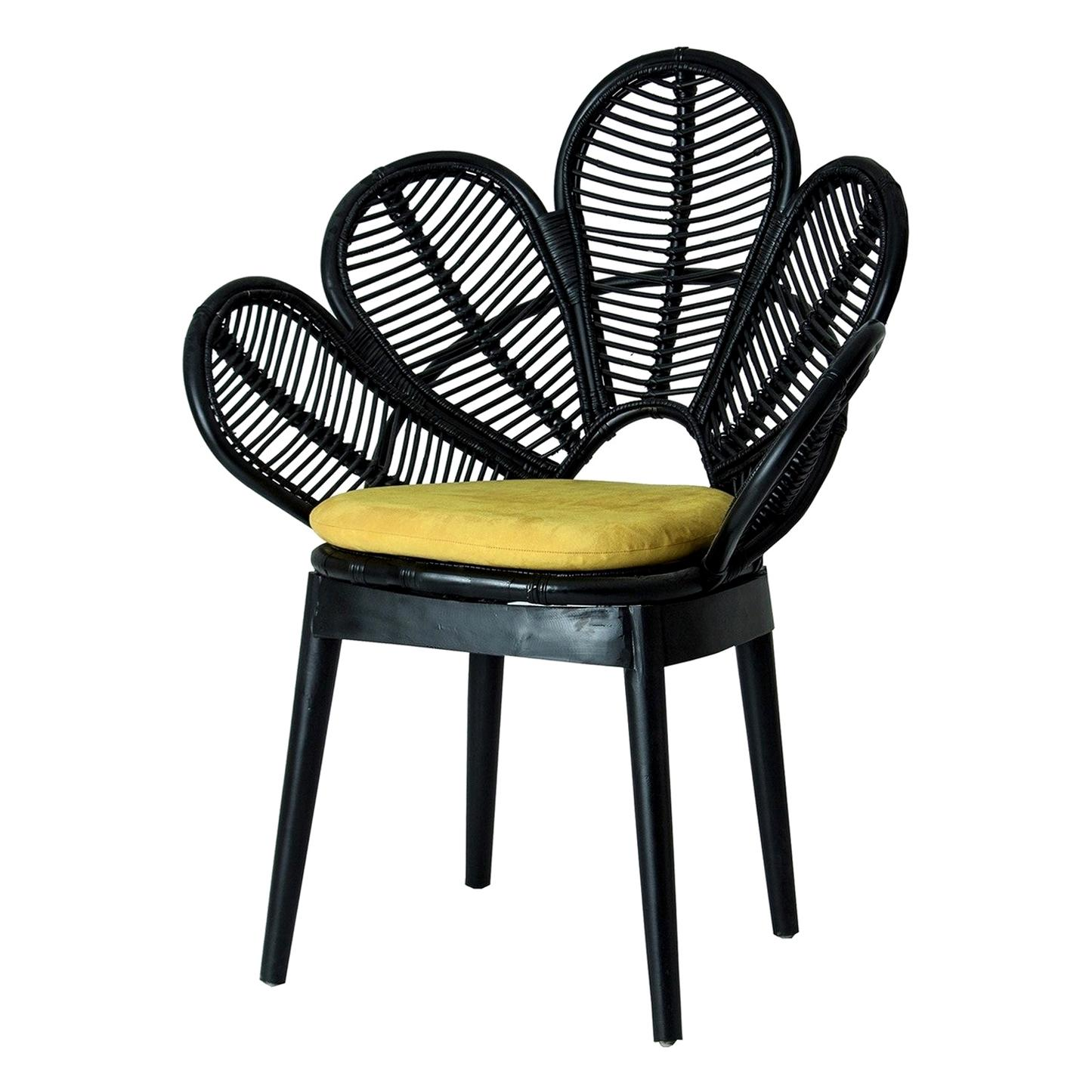 Black Lacquered Flower Wooden and Rattan Armchair