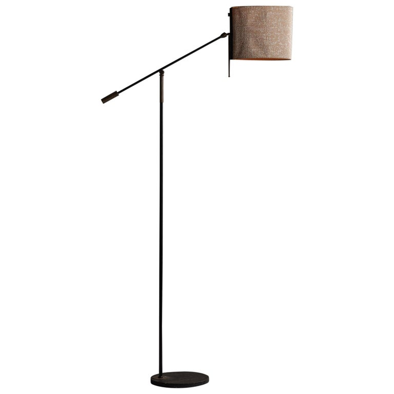 Black Lacquered & Gilt Brass Floor Lamp by Maison Lunel, France, circa 1950 For Sale