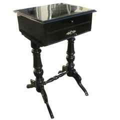Black Lacquered Gründerzeit Sewing Table, circa 1890