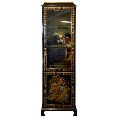 Black Lacquered Hand Painted Chinoiserie Lighted Display China Cabinet Vitrine