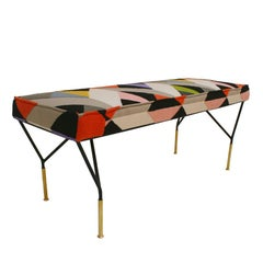 Black Lacquered Iron and Brass Upholstered in Pattern Fabric Footstool, Italy