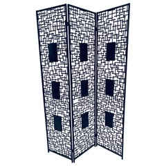 Black Iron Room Divider Screen with Black Tessellated Stone Accents