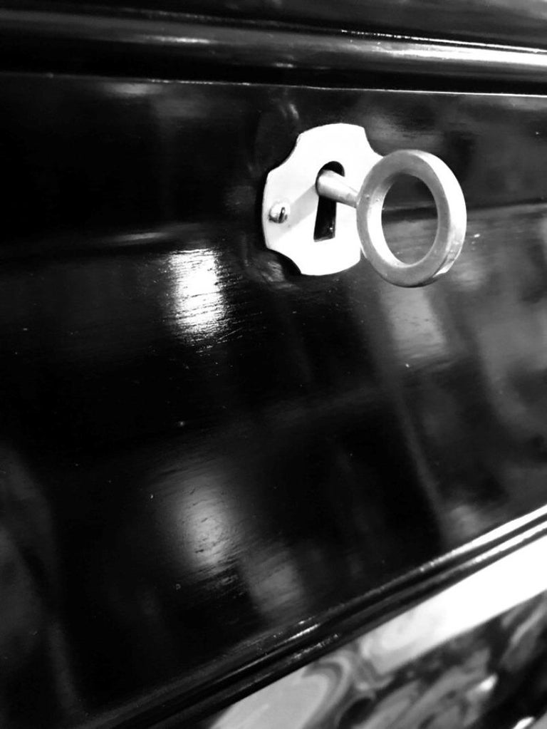 Black Lacquered Italian Bar Credenza with Malachite Detail 1
