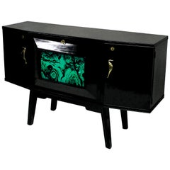 Black Lacquered Italian Bar Credenza with Malachite Detail