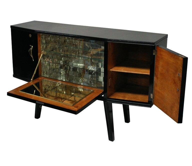 Mid-Century Modern Black Lacquered Italian Bar Credenza with Malachite Panel