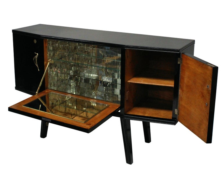 Mid-Century Modern Black Lacquered Italian Bar Credenza with Malachite Panel