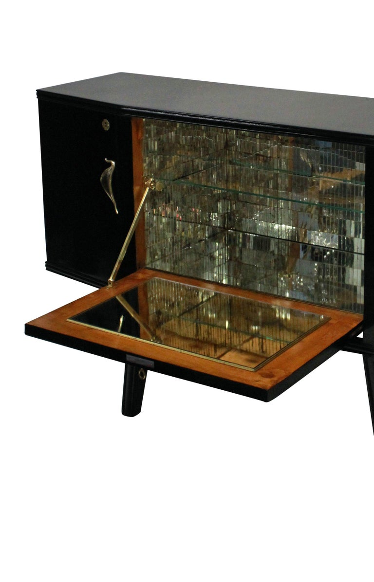 Black Lacquered Italian Bar Credenza with Malachite Panel In Excellent Condition In London, GB