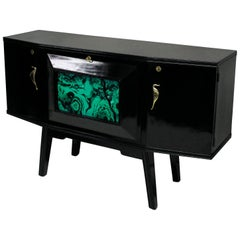 Black Lacquered Italian Bar Credenza with Malachite Panel