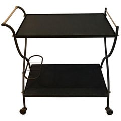 Black Lacquered Metal and Brass Design Trolley, French, circa 1950