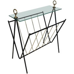 Black Lacquered Metal and Brass Magazine Rack, circa 1950