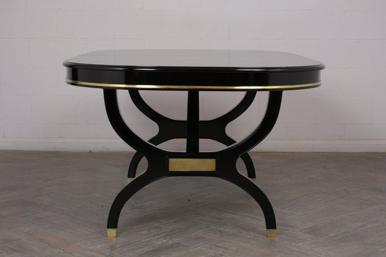 Gilt Regency Style Lacquered Oval Dining Table For Sale