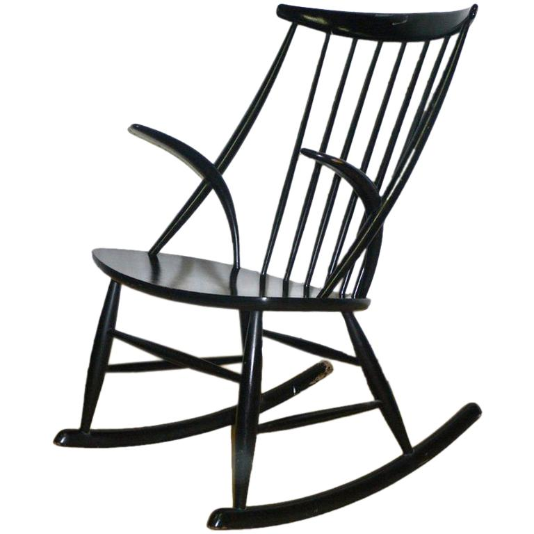 black lacquered rocking chair For Sale