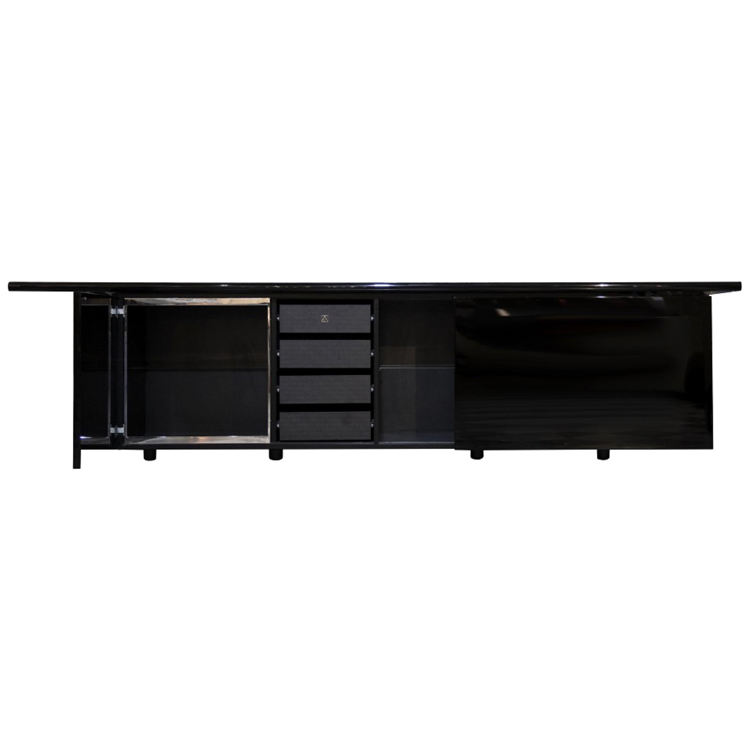Black Lacquered Sheraton Sideboard by Giotto Stoppino for Acerbis, Italy, 1977