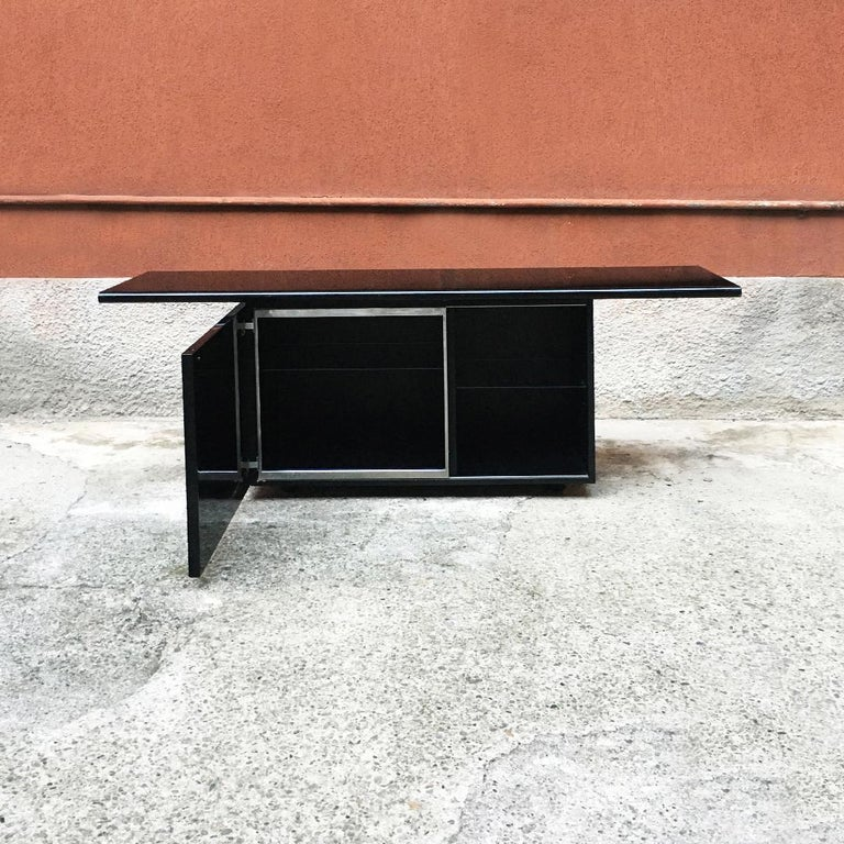 Wood Black Lacquered Sheraton Sideboard by G.Stoppino and L.Acerbis by Acerbis, 1977