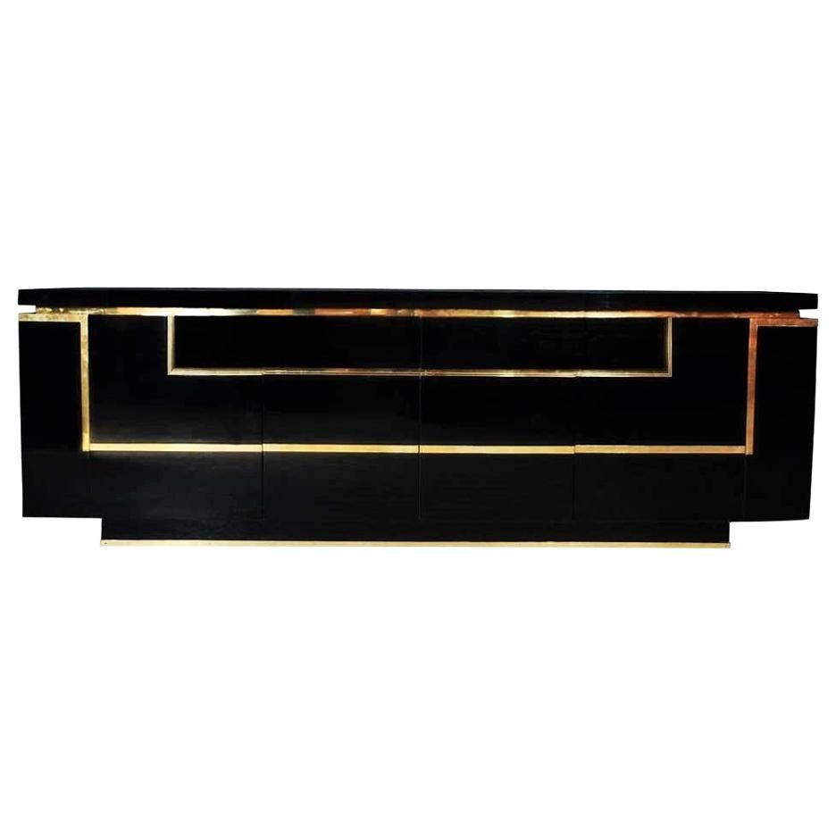 Black Lacquered Sideboard / Credenza with Brass Trim by Jean Claude Mahey