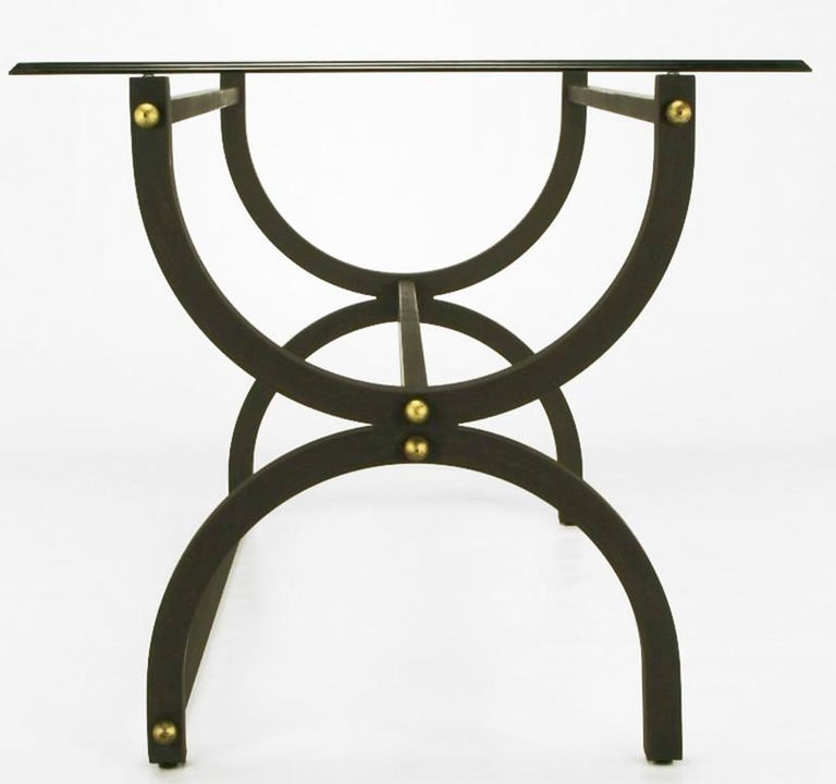 Mid-Century Modern Black Lacquered Steel Curule Base Writing Table with Brass Appointments For Sale