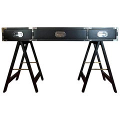 Black Lacquered with Chrome & Brass Accent 3-Drawer Campaign Desk/ Writing Table