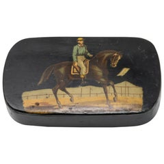 Black Lacquered with Polychrome Scene Hand Painted Vintage