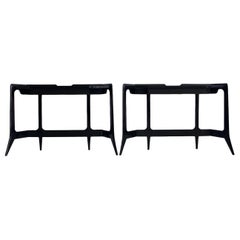 Black Lacquered Wood Console Table by Luigi Scremin