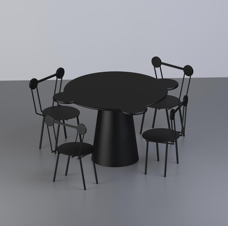 Modern Black Lacquered Wood Contemporary Donald Table by Chapel Petrassi For Sale