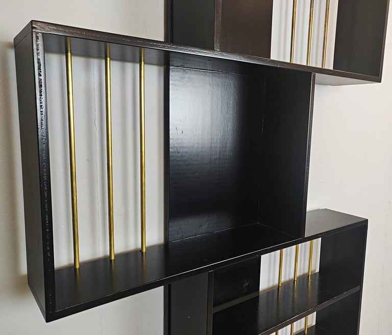 Mid-Century Modern Black Lacquered Wood Graphic Italian Bookcase For Sale
