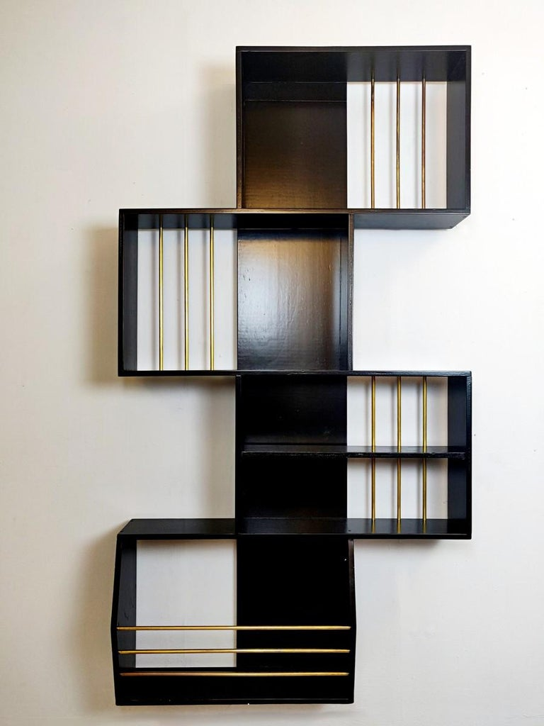 20th Century Black Lacquered Wood Graphic Italian Bookcase For Sale
