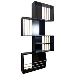 Black Lacquered Wood Graphic Italian Bookcase