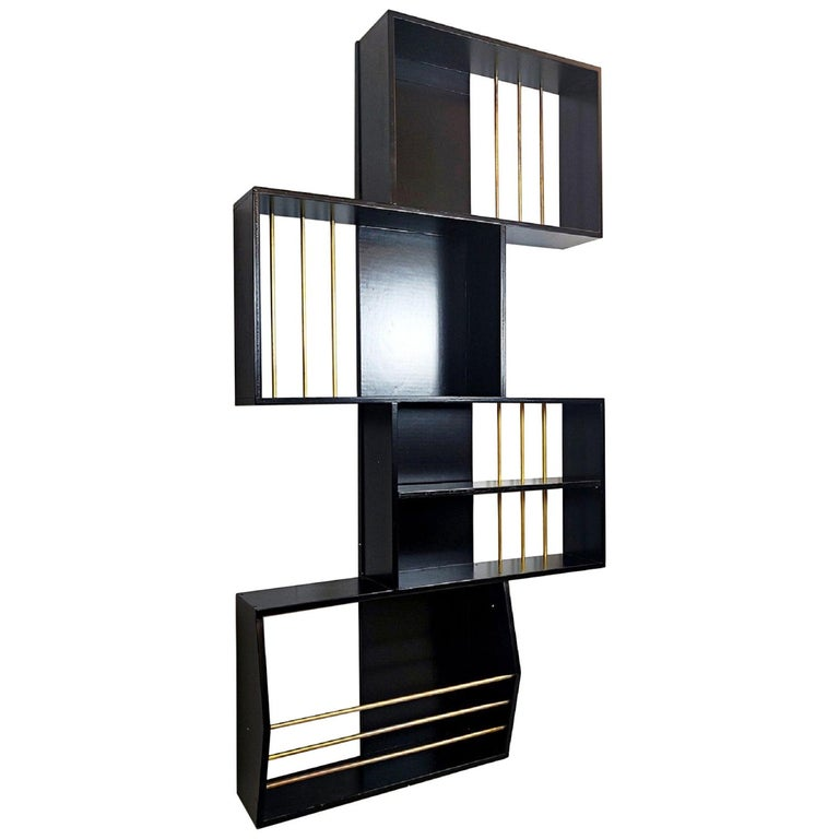 Black Lacquered Wood Graphic Italian Bookcase For Sale