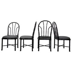 Black Lacquered Wood Set of Four Chairs Optical Illusion