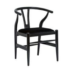 Black Lacquered Wooden and Black Fabric Dining Chair Midcentury and Danish Style