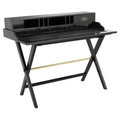 Black Lacquered Wooden and Black Leather Desk with Brass Finishes