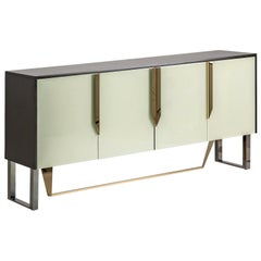 Black Lacquered Wooden and Colored Beveled Glass Design Sideboard