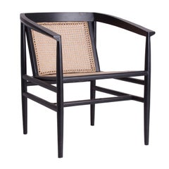 Black Lacquered Wooden and Natural Rattan Wicker Armchair