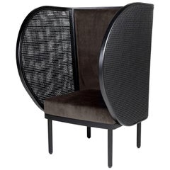 Black Lacquered Woven Cane and Wooden with Velvet Armchair