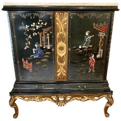 Black Laquer and Carved Giltwood Chinoiserie Marble Top Cabinet Armoire