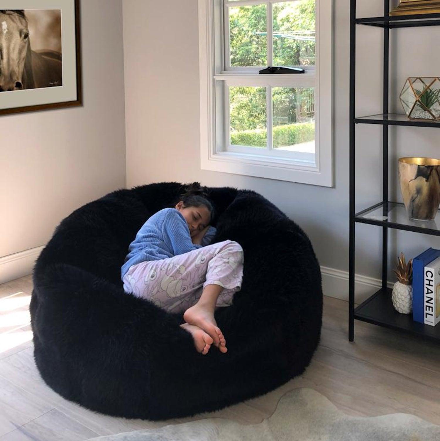Excellent Black Large Merino Sheepskin Bean Bag Chair Made In Machost Co Dining Chair Design Ideas Machostcouk