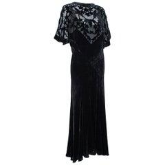 Black *Larger Size* Erté-Style Art Deco Burnout Velvet Backless Gown- M-L, 1930s